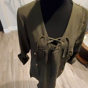 Olive Lace Up Blouse
